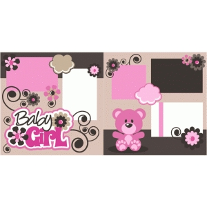 baby girl 2 page scrapbook page kit