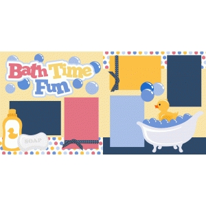bath time fun 2 page scrapbook kit