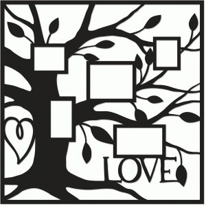 heart family tree placemat layout