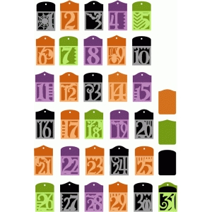 halloween countdown advent pocket tags