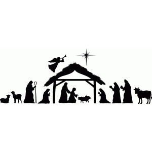 Dynamic image pertaining to free printable silhouette of nativity scene
