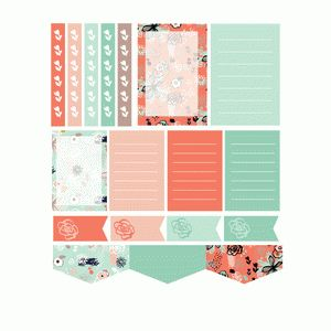 expressive floral planner stickers- coral