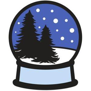 fir trees snow globe