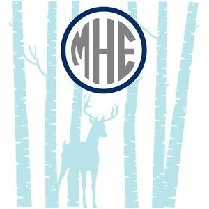 deer and birch tree monogram frame