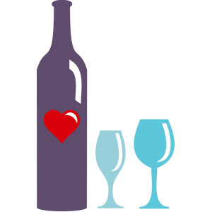 wine glasses and bottle heart