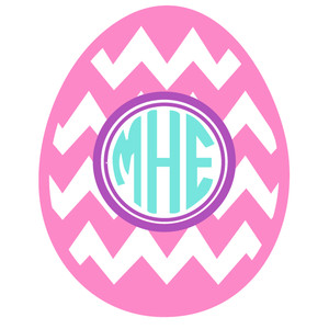 easter egg chevron monogram frame