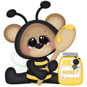 bee with honey and spoon