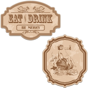 vintage labels - eat, drink, be merry