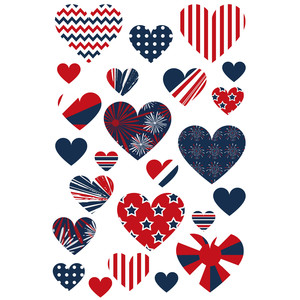 4th of july heart stickers