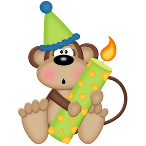 birthday monkey holding candle