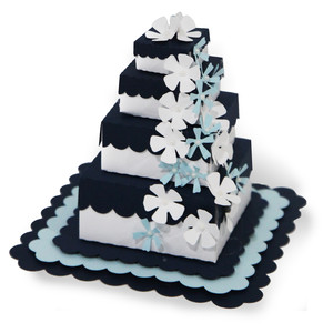 navy 4 tier wedding cake