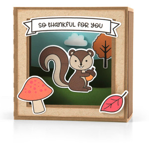 shadow box card scene - fall squirrel