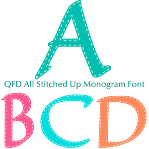 qfd all stitched up monogram font