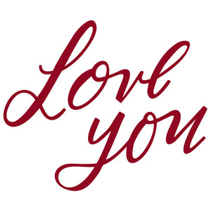 love you hand lettered