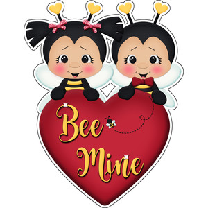 bee mine valentines boy & girl heart title sticker die cut