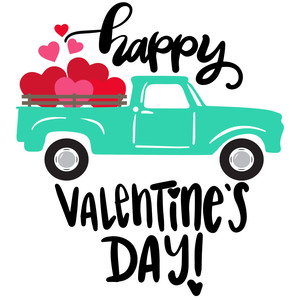 happy valentine's day vintage truck