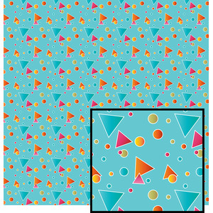 geometric shapes on aqua pattern