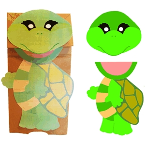 turtle paper sack puppet