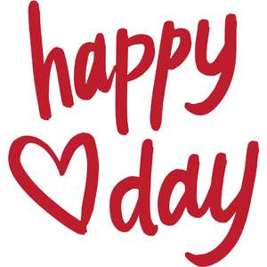 happy heart day lettering