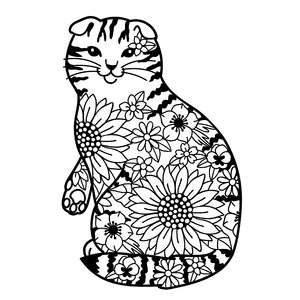scottish fold cat flower mandala