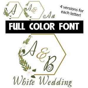 white wedding color font