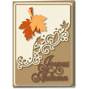 autumn leaves card diagonal flourish