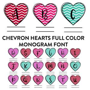 chevron hearts full color monogram font