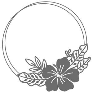 tropical hibiscus flower circle frame