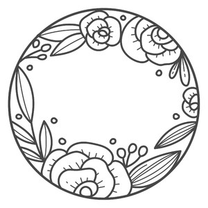 simple flower round monogram frame