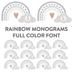 rainbow monogram full color font