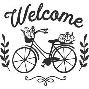 welcome spring bike with flowers