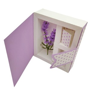 3d floral frame in box with lavender