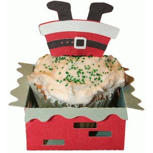 cupcake wrapper set: santa chimney dive