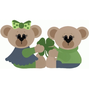 boy & girl bears holding shamrock