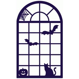 halloween spooky arched window scene