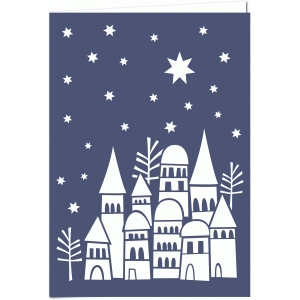 snowy rooftops 7x5 papercut winter holiday card