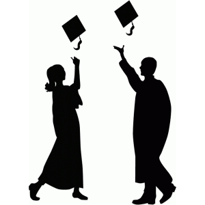 graduates throwing hats silhouette