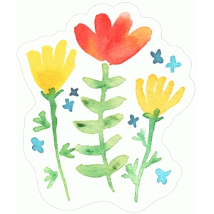 whimsical watercolor flowers
