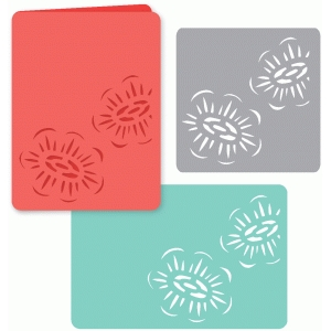 set of three pretty poppy papercut cards