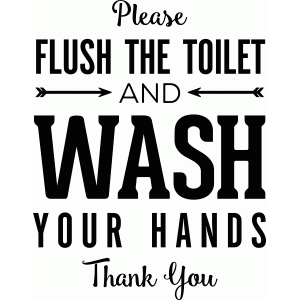 flush the toilet and wash your hands