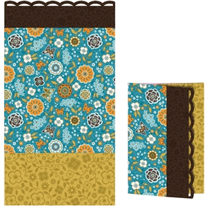 card retro floral turquoise
