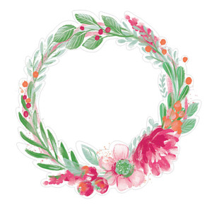 painted floral wreath pink