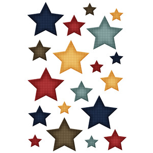 patriotic plaid star stickers