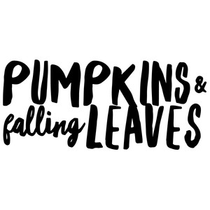 pumpkins and falling leaves