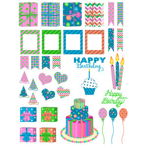 vibrant birthday planner stickers