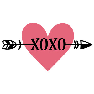 xoxo arrow heart phrase