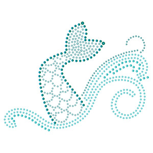 rhinestone mermaid in the ocean
