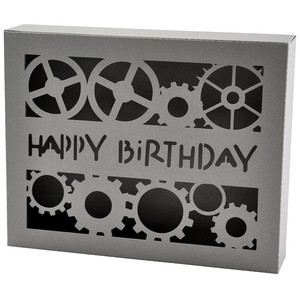 happy birthday gears box card