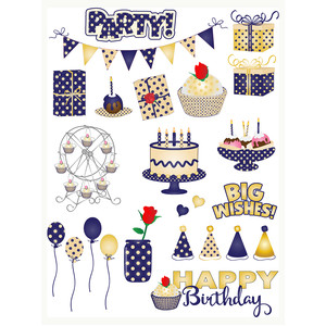 blue & gold birthday planning stickers