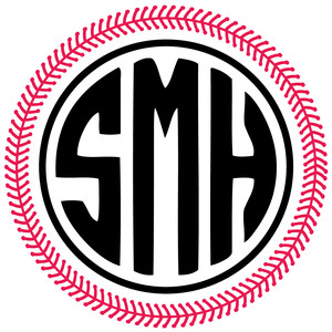baseball stitch circle monogram frame